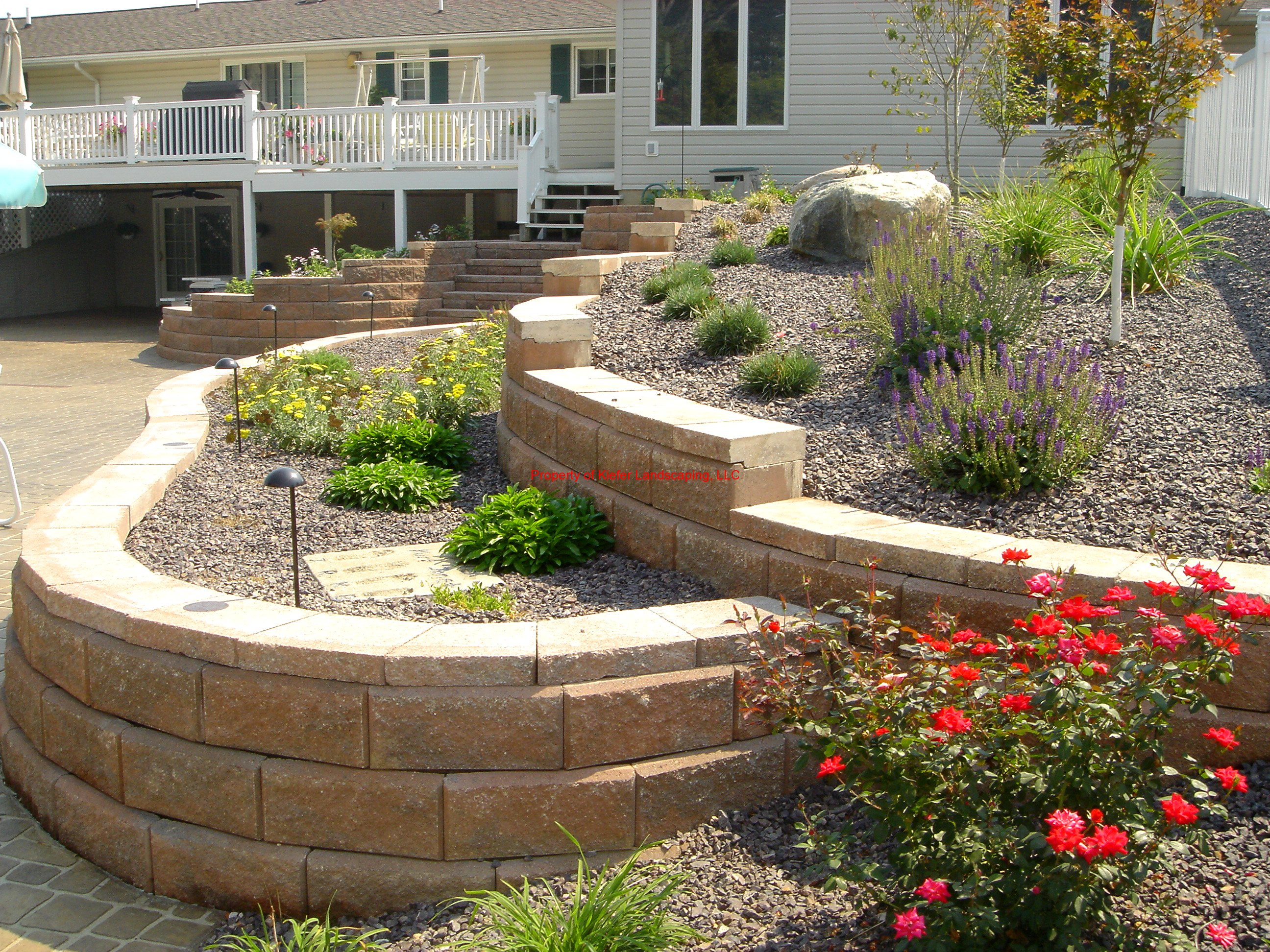 Retaining walls gallery for Block wall landscape design